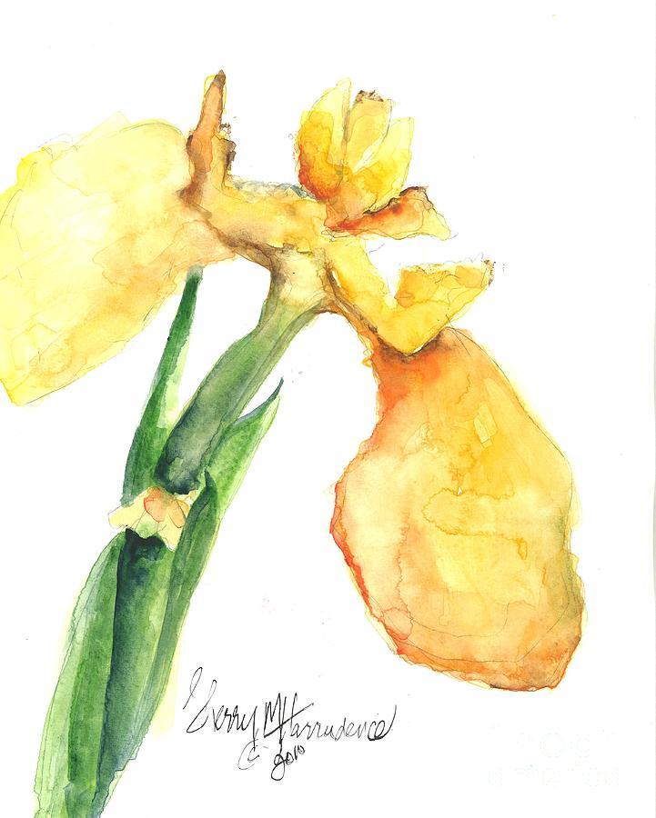 Owl Painting - Iris Blooms  by Sherry Harradence