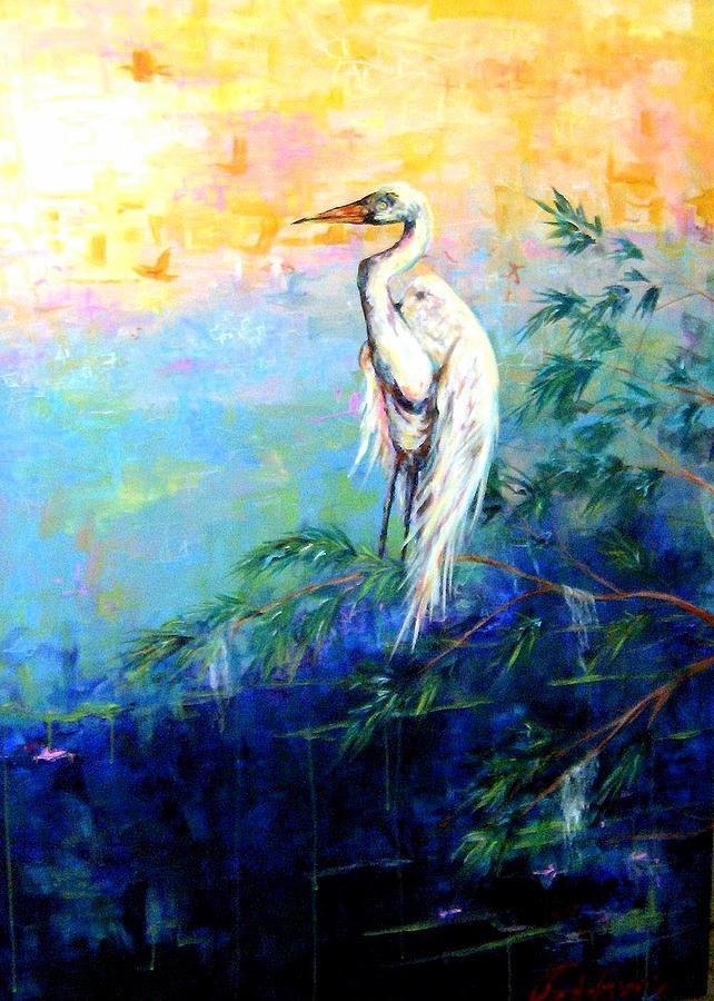 Egret Painting - Iris by Dawn Gray Moraga
