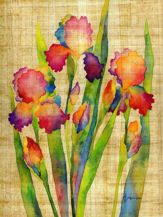 Iris Elegance On Yellow Painting