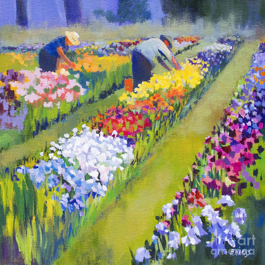 Flower Painting - Iris Farm by Bernard Marks