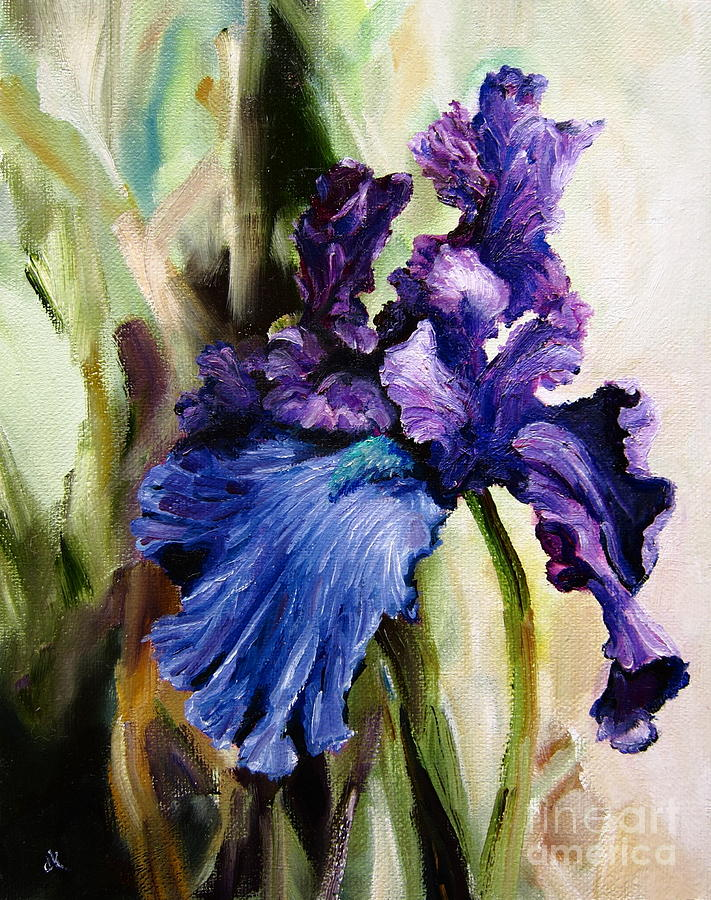 Flower Painting - Iris In Bloom 2 by Diane Kraudelt