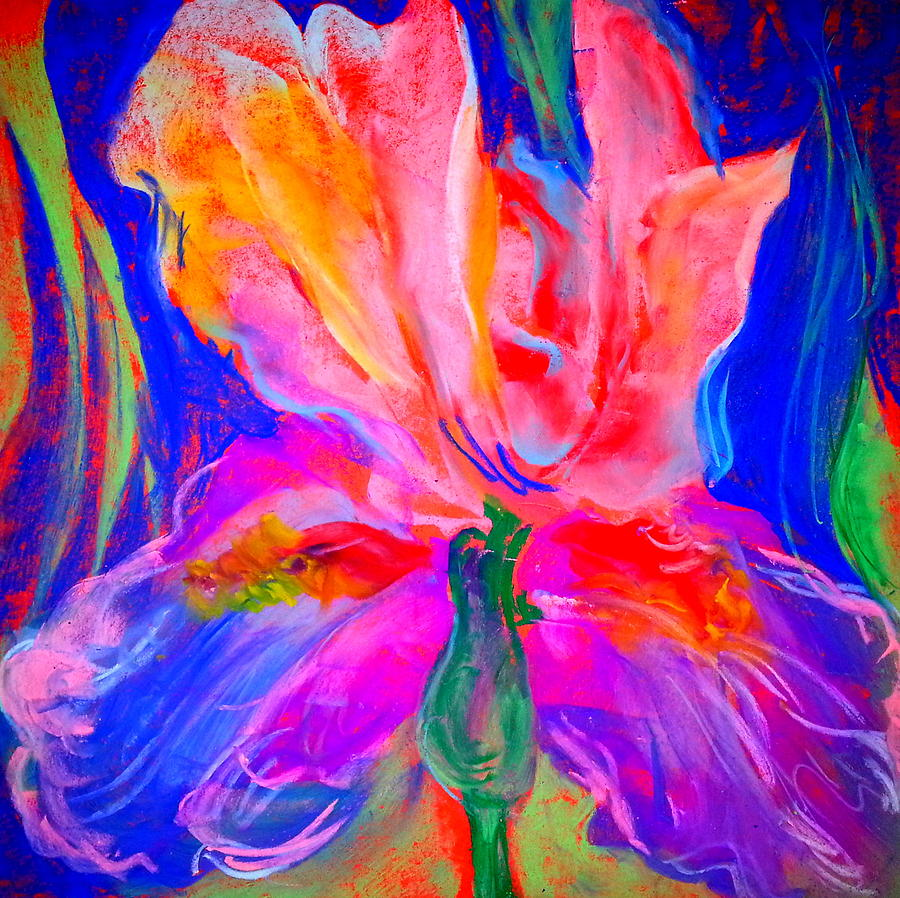 Funky iris flower painting by sue jacobi iris painting funky iris flower by sue jacobi izmirmasajfo