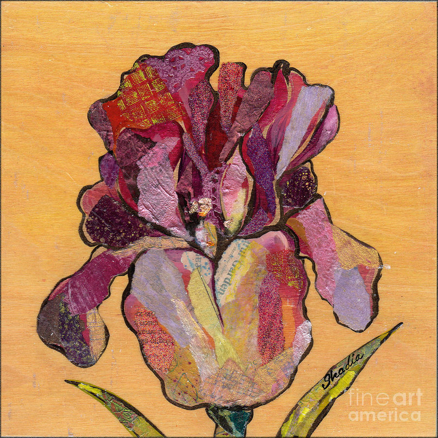Flower Painting - Iris V  - Series V by Shadia Derbyshire