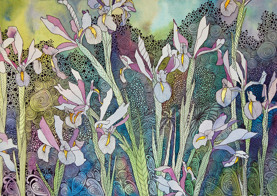 Irises Painting - Irises And Doodles by Terry Holliday