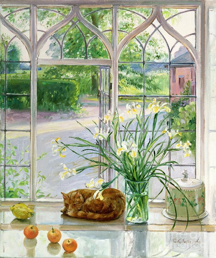 Apple; Lemon; Window; Garden Painting - Irises And Sleeping Cat by Timothy Easton