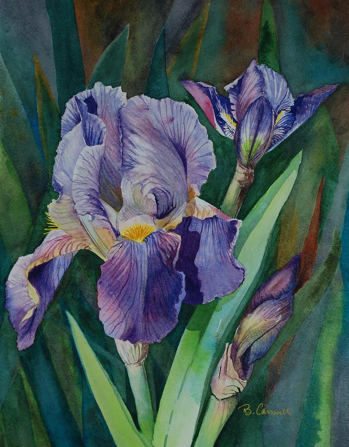 Purple Painting - Irises by Barbara Carswell