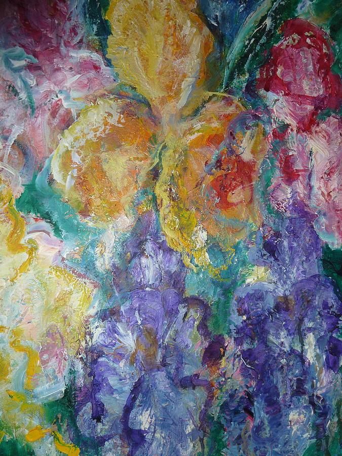 Oil Painting - Irises in Oil by Phoenix Simpson