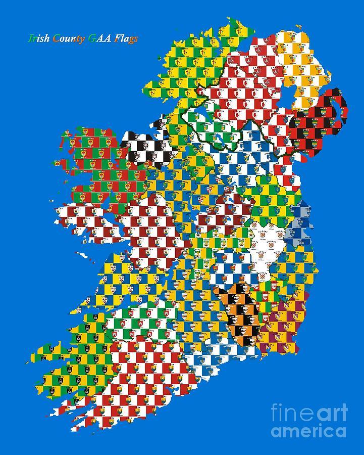 32 County Map Of Ireland.Irish County Gaa Flags