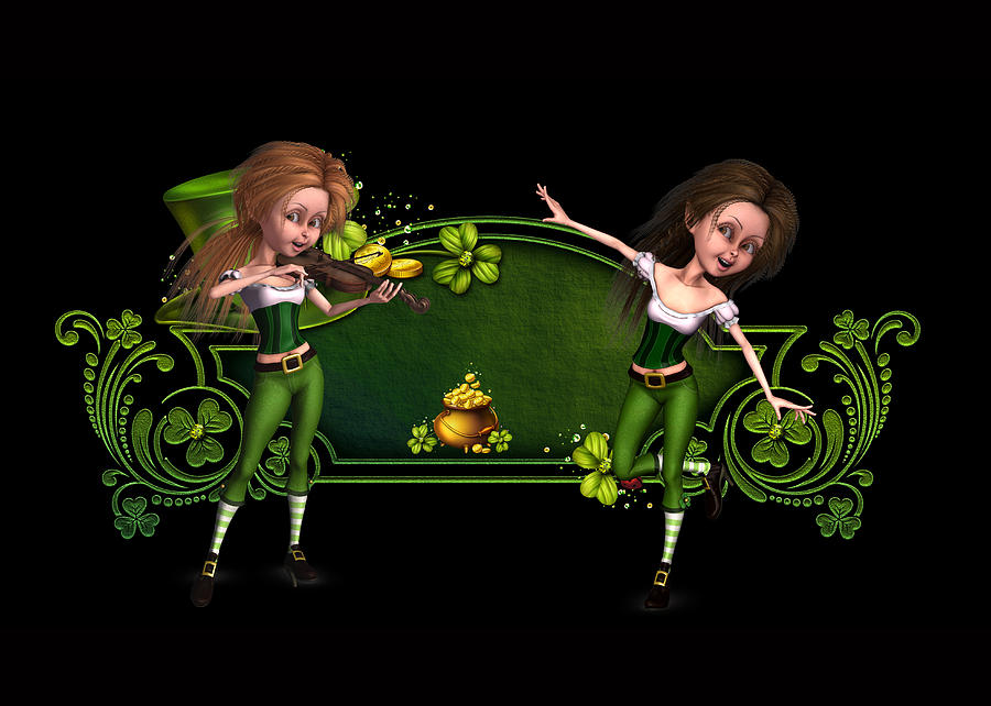 Irish Dancers Digital Art - Irish dancers ii by John Junek