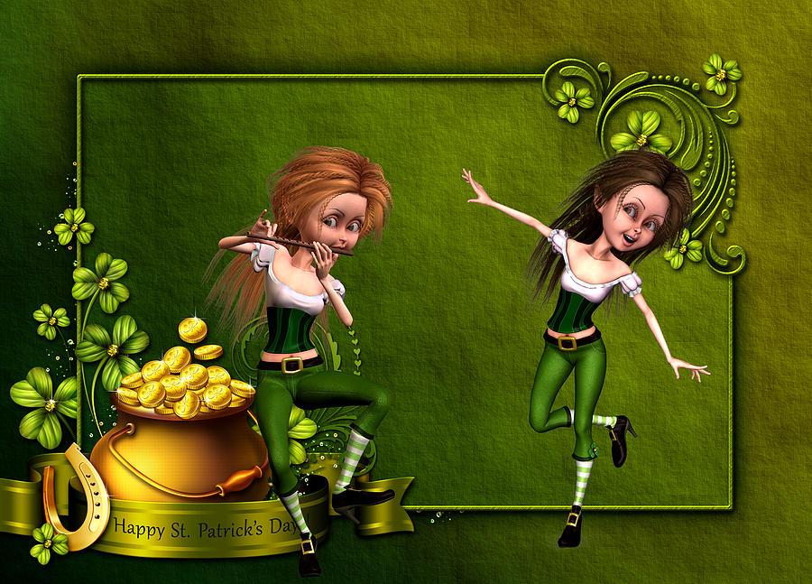 Irish Dancers Digital Art - Irish dancers by John Junek