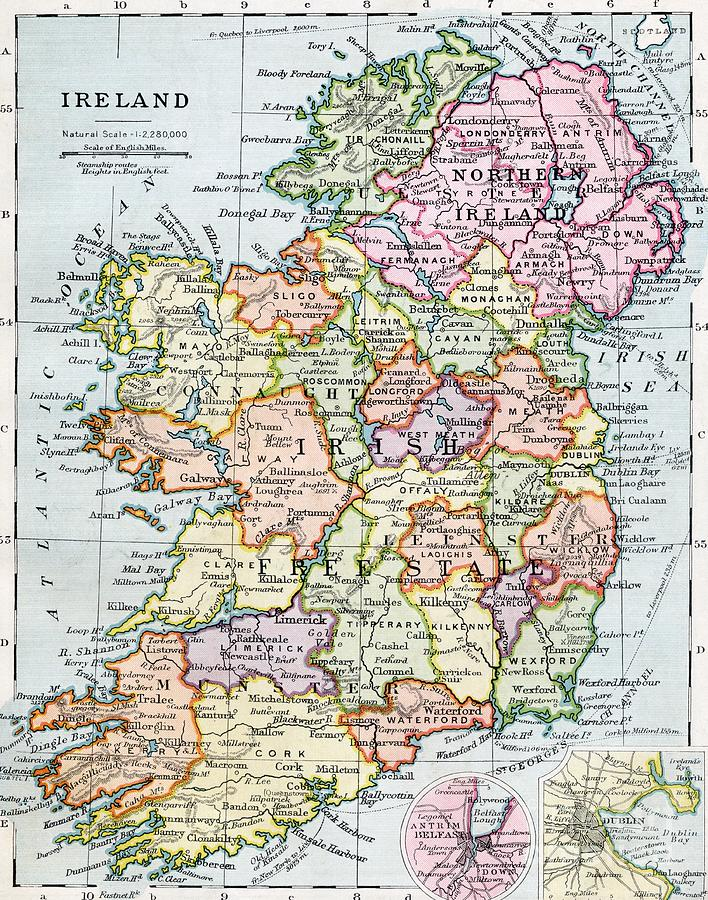 Map; Mapping; Cartography; Grid; Scale; Territory; Island Painting - Irish Free State And Northern Ireland From Bacon S Excelsior Atlas Of The World by English School