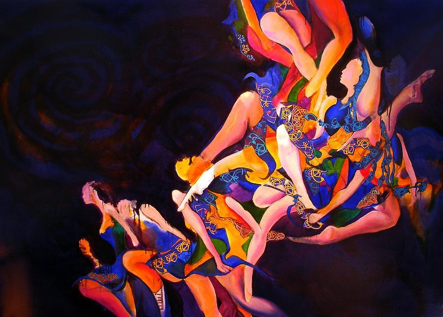 Chain Tangle Entagled Limbs Legs Irish Dancers Knot Painting - Irish Knot by Georg Douglas
