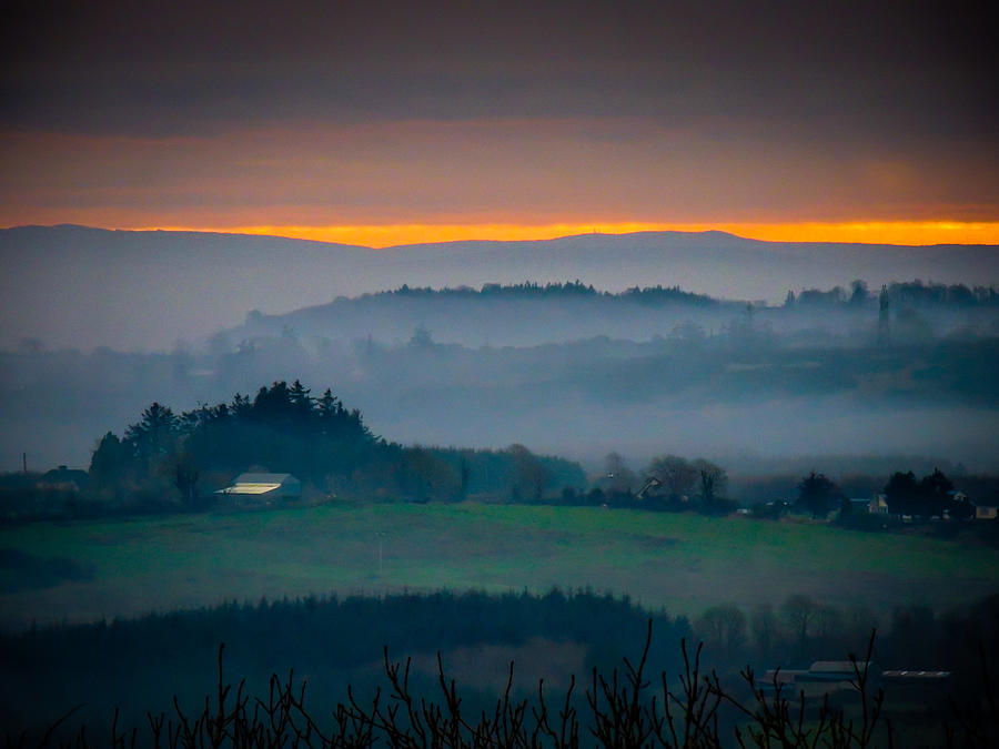 Ireland Photograph - Irish Mist over County Clare Farm by James Truett
