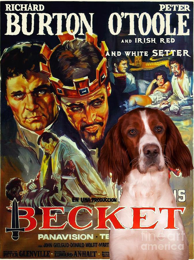 Irish Red And White Setter Painting - Irish Red and White Setter Art Canvas Print - Becket Movie Poster by Sandra Sij