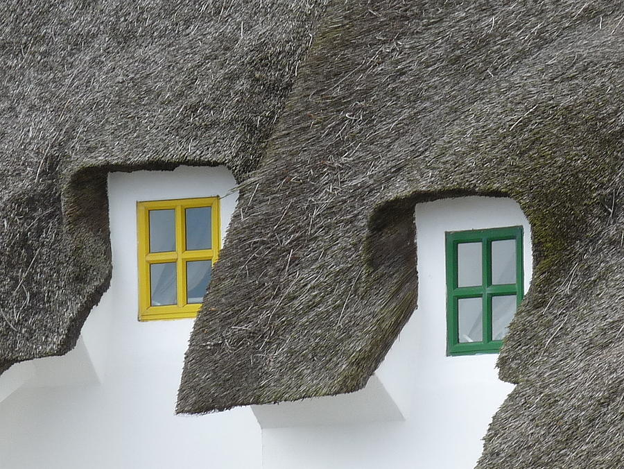 Ireland Photograph - Irish Thatch Cottage Colored Windows by Patrick Dinneen