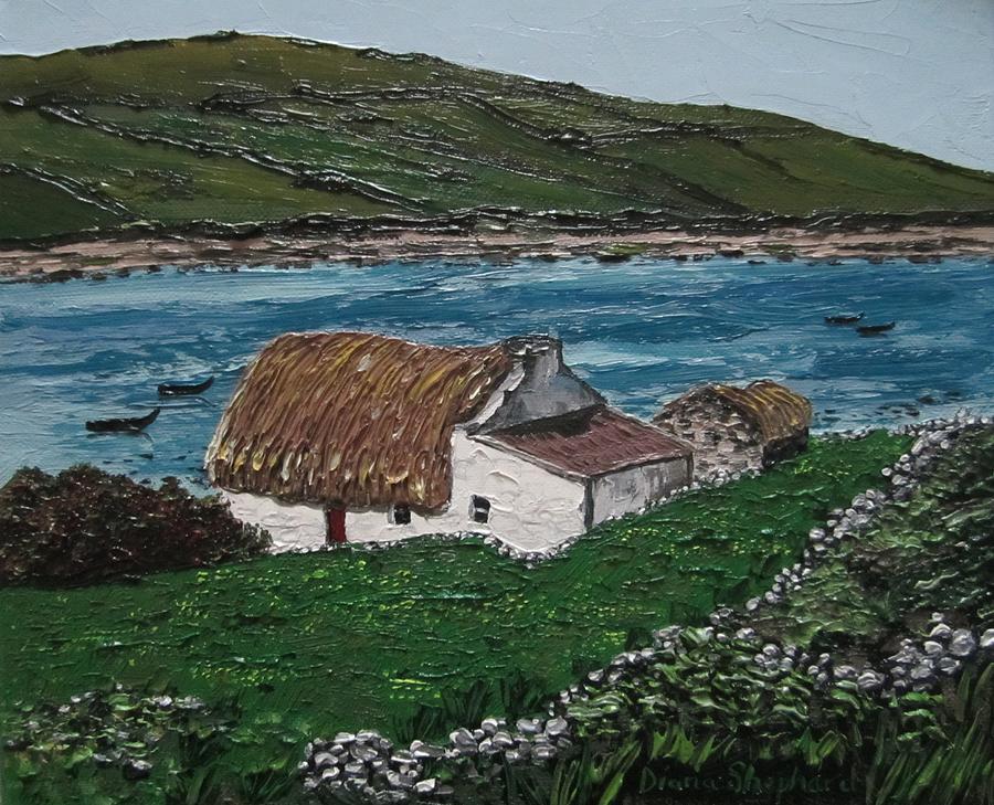 Irish Thatch Cottage Connemara Ireland Painting By Diana Shephard