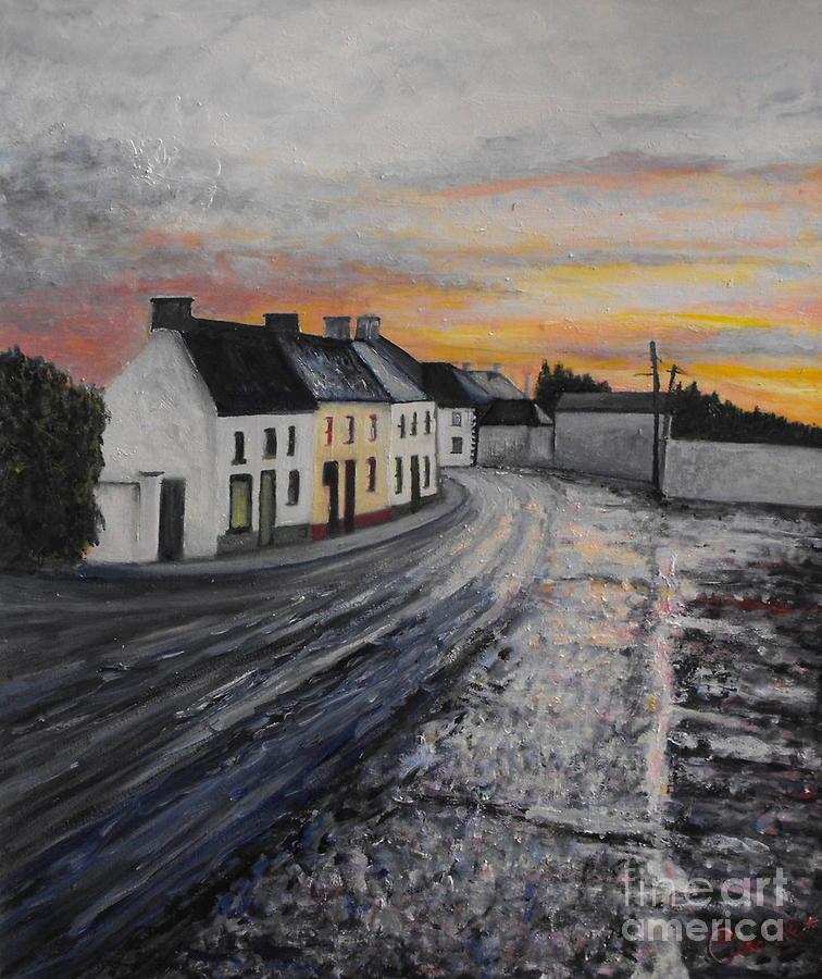 Irish Village Painting - Rathvilly After The Rain by Caroline Cunningham