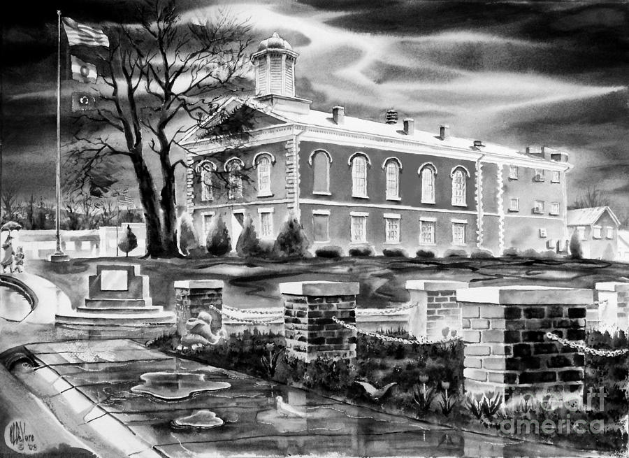 Watercolor Painting - Iron County Courthouse IIi - Bw by Kip DeVore