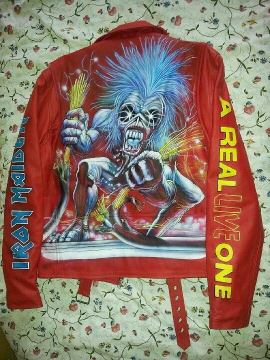 Iron Maiden Red Leather Jacket Painting By Danielle Vergne