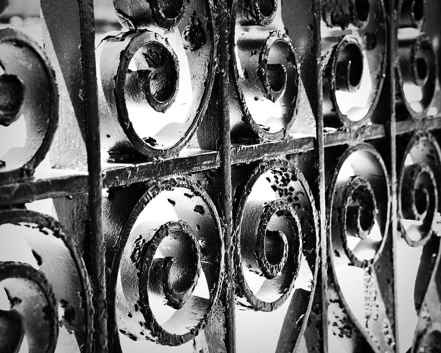 Rustic Photograph   Iron Swirls   Black An White Fence Abstract Swirls  Lines Wall Decor Still
