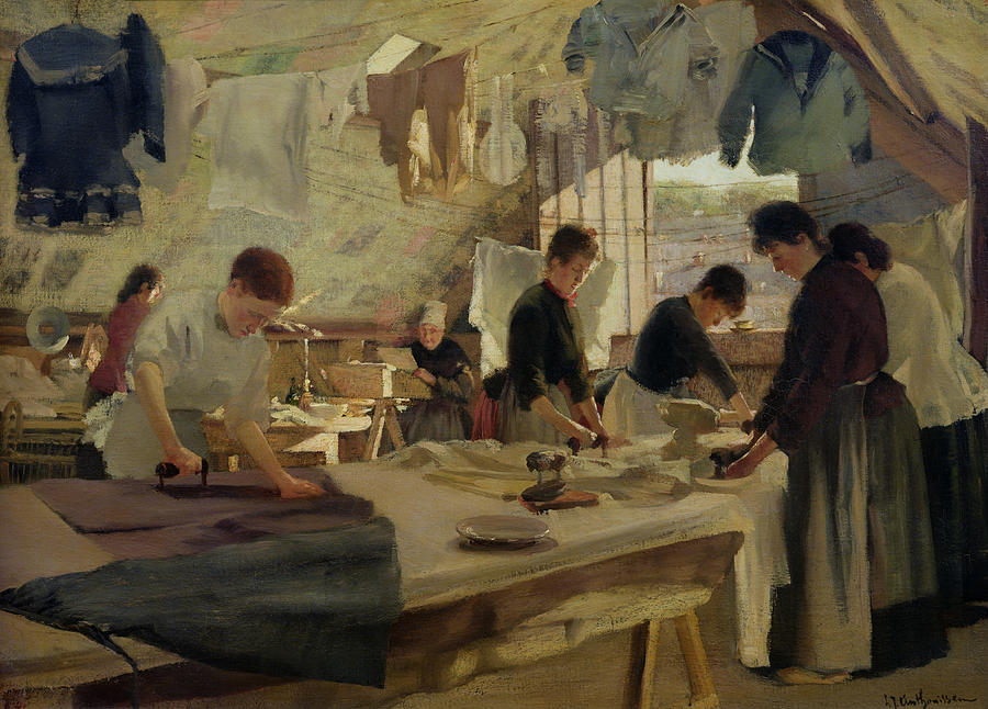 Ironing Painting - Ironing Workshop In Trouville by Louis Joseph Anthonissen