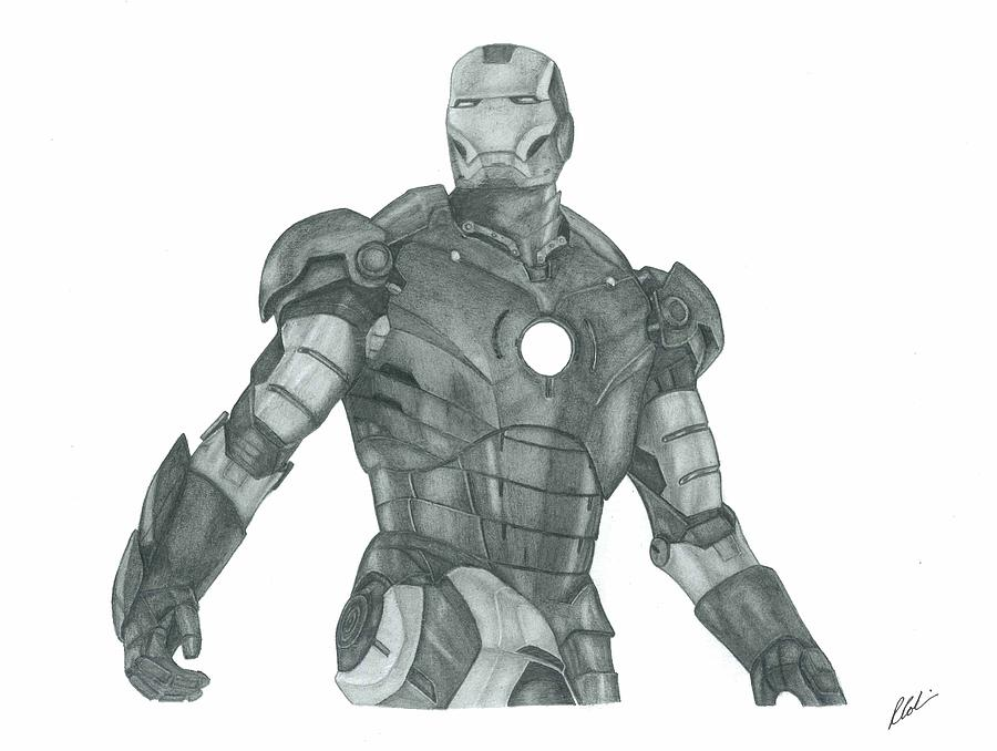 Movie Drawing - Ironman by Rich Colvin