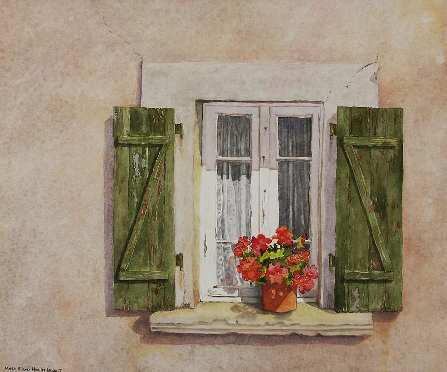 Watercolor Painting - Irvillac Window by Mary Ellen Mueller Legault