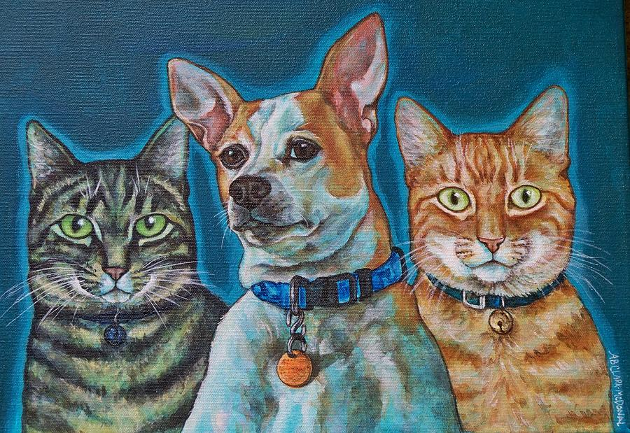 Pets Painting - Isabelle Chloe And Ratchett by Beth Clark-McDonal