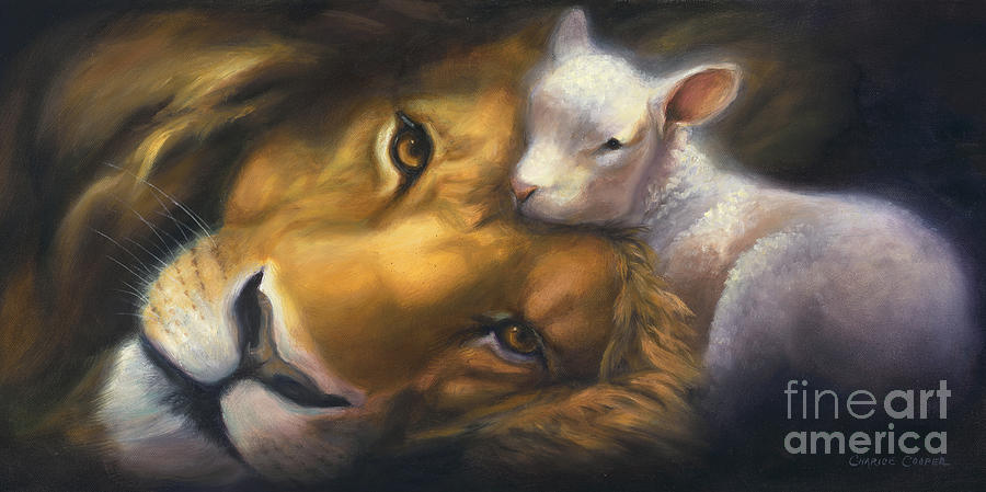 Lion And Lamb Painting - Isaiah by Charice Cooper