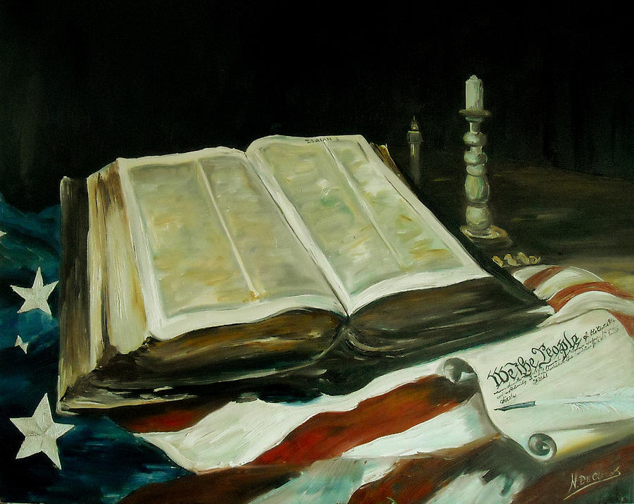 Old Bible On American Flag With The Declaration Of Independence. Painting - Isaiah by Nicole DeClerck
