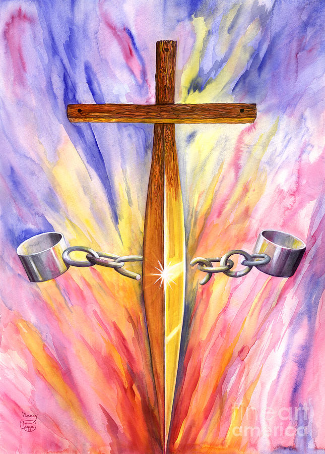 Cross Painting - Isaiah 61 by Nancy Cupp