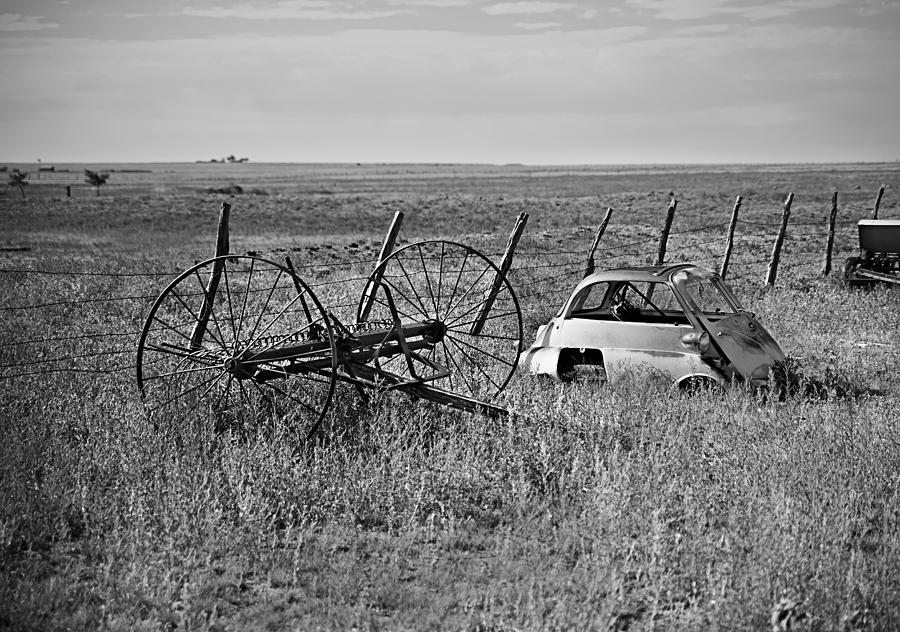 B&w Photograph - Isetta And Hay Rake by Melany Sarafis