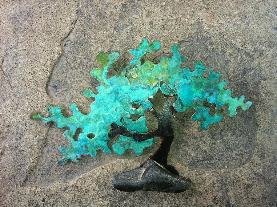 Tree Sculpture - Ishitsuki Copper Bonsai by Vanessa Williams