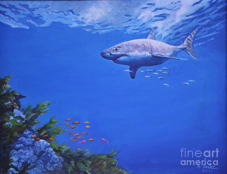 Sport Fishing Painting - Pacific Great White by Noe Peralez