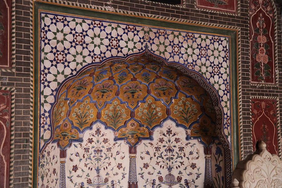 Islamic Photograph - Islamic Geometric Design At The Shahi Mosque by Murtaza Humayun Saeed
