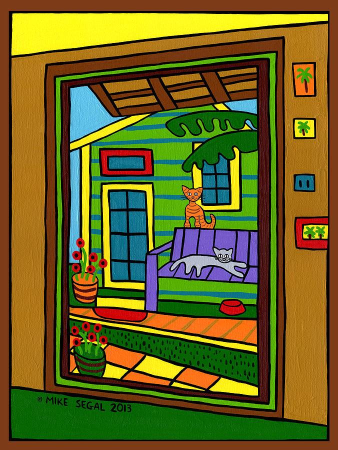 Cats Painting - Island Arts Garden - Cedar Key by Mike Segal