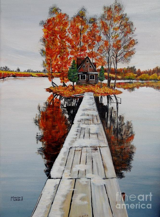Cabin Painting - Island Cabin by Marilyn  McNish