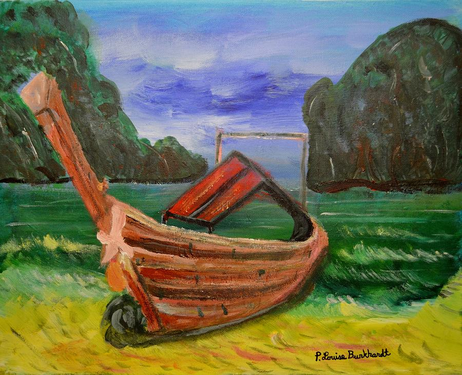 Tropical Painting - Island Canoe by Louise Burkhardt