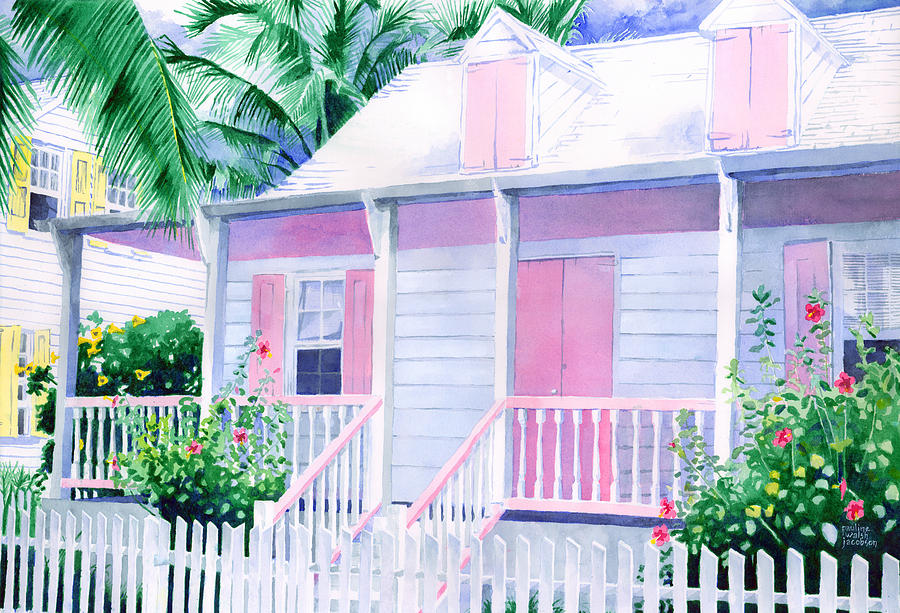 Beach House Picture Painting - Island Charm by Pauline Walsh Jacobson