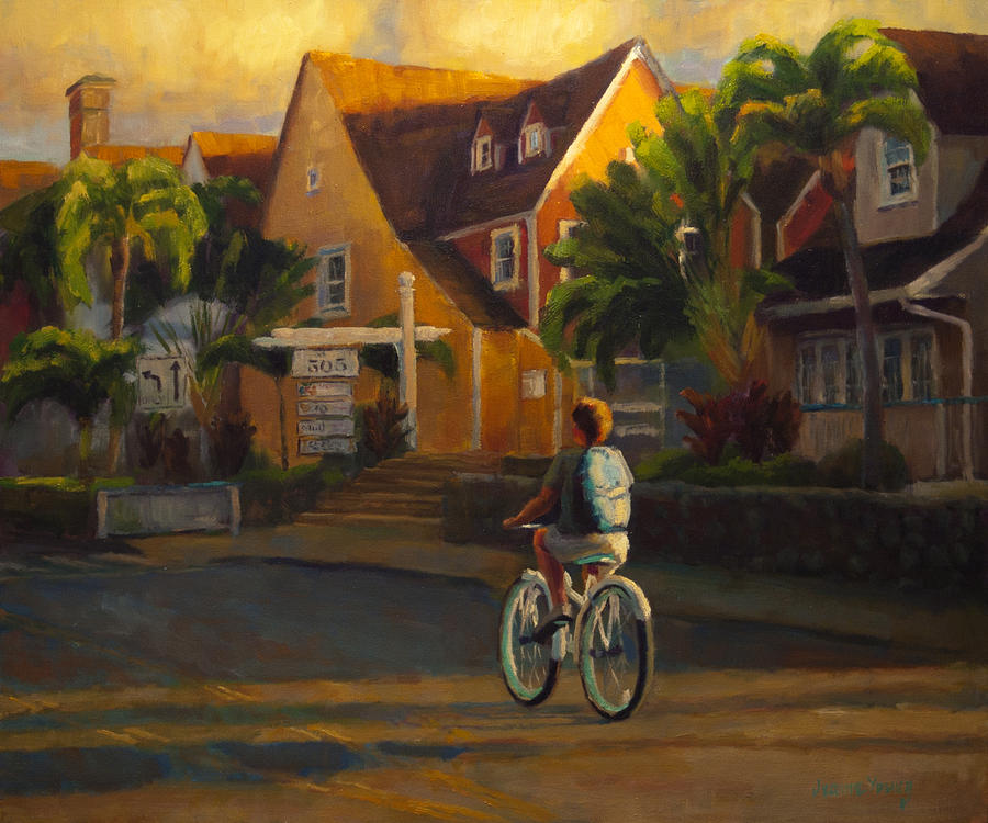 Bike Painting - Island Commute by Jeanne Young