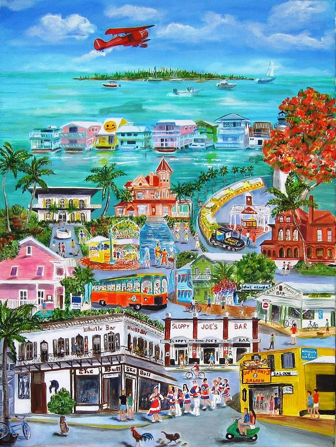 Key West Painting - Island Daze by Linda Cabrera