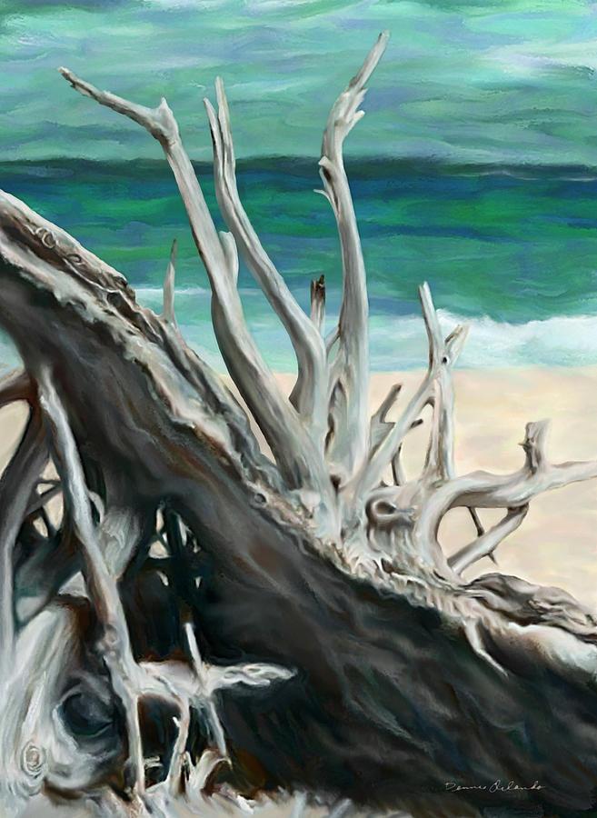 Ocean Painting - Island Driftwood by Dennis Orlando