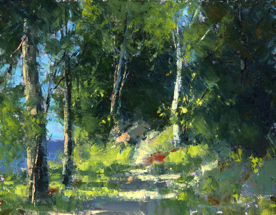 Nature Painting - Isle Royale A Trail Near The Lake by Tom Nelson