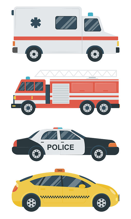 Isolated Transport Icons. Police Car Digital Art by Switchpipipi