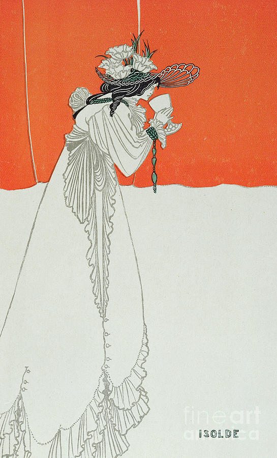 Illustration Painting - Isolde Drinking The Poison by Aubrey Beardsley