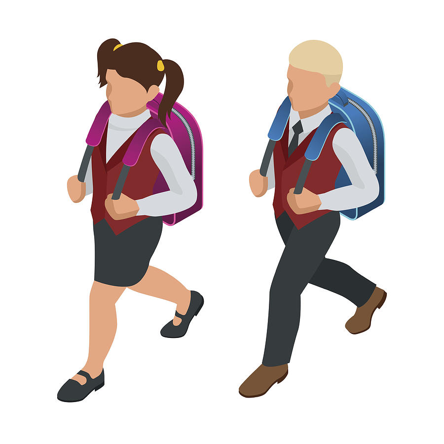 Isometric Boy And Girl Back To School Concept  Children Go To School With  Their Back Packs And In School Uniforms  Education  Happy To Study  Vector