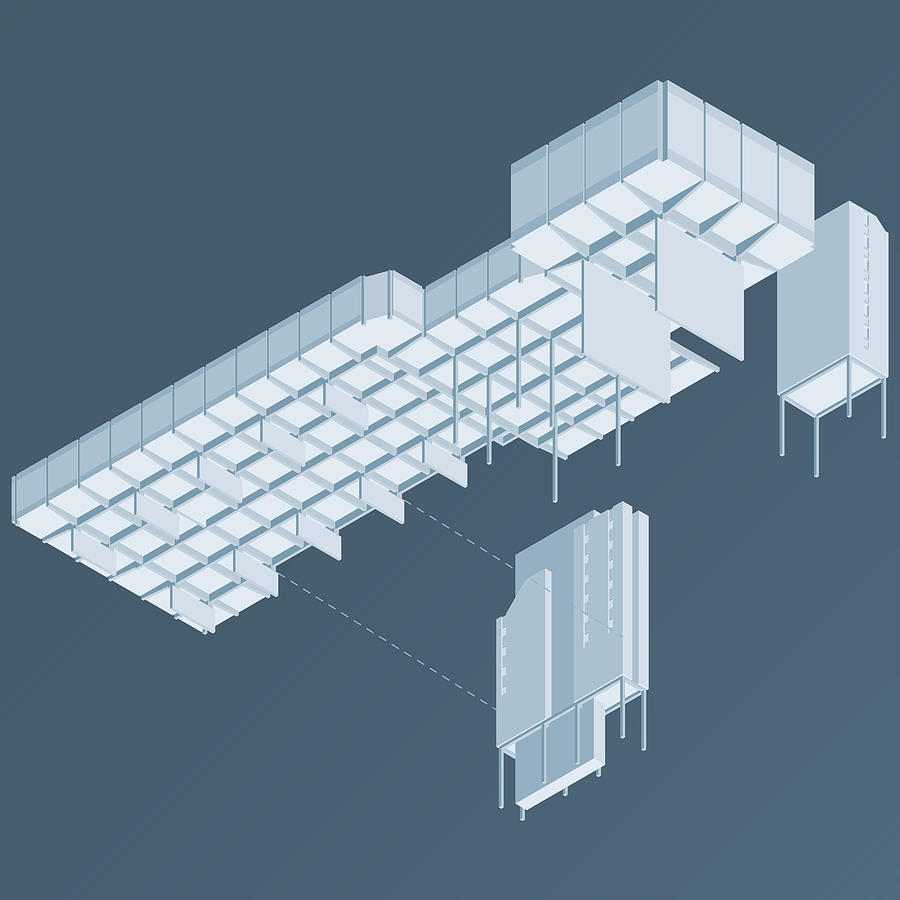 Architecture Digital Art - Isometric Council Chambers by Peter Cassidy