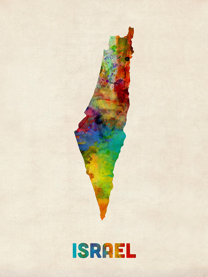 Httpwww Overlordsofchaos Comhtmlorigin Of The Word Jew Html: Israel Watercolor Map Digital Art By Michael Tompsett
