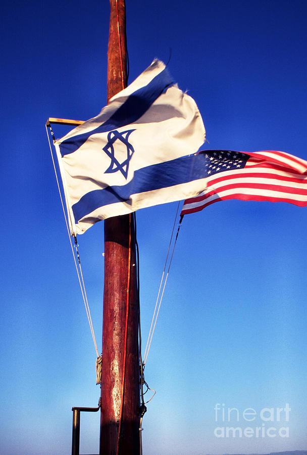 Us Flag Photograph - Israeli Flag And Us Flag by Thomas R Fletcher