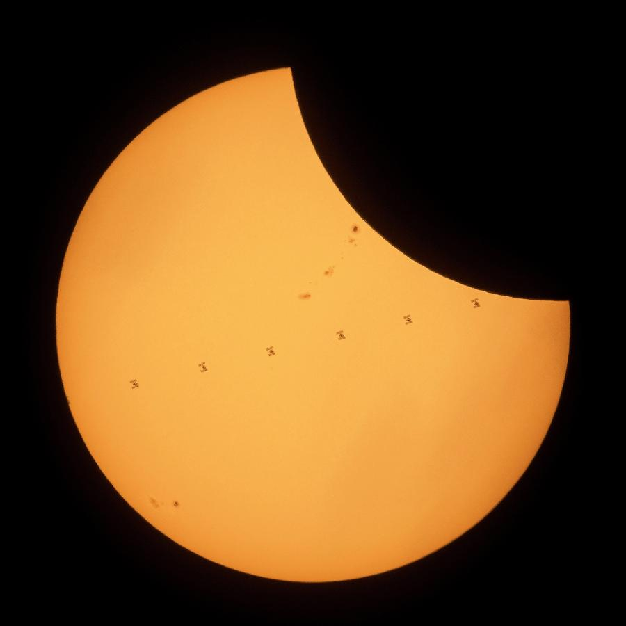 International Space Station Photograph - Iss Transit Of 2017 Solar Eclipse by Nasa/joel Kowsky/science Photo Library